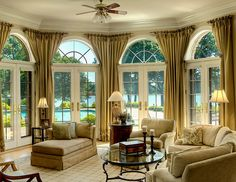 Family Room Arched Window Treatments, Arched Windows, Bay Windows, Large Windows, Wooden Windows, Ceiling Windows, British Colonial Decor, Hudson Homes, Window Design