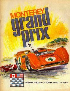 1968 Monterey Grand Prix Can Am - Laguna Seca - Promotional Advertising Poster