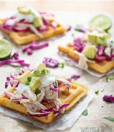 Chipotle-Cornmeal Waffle Tostadas with Chicken and Lime Crema | sweetpeasandsaffron.com