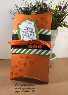 2015  Square Pillow Box die   created three different projects with the same die, but all very different, one for each of the major holidays this year – Christmas, Thanksgiving and Halloween.