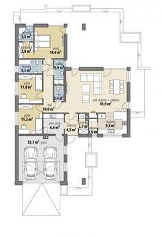 Anatolia - Dobre Domy Flak & Abramowicz 2 Bedroom House Plans, My House Plans, House Floor Plans, Plan Chalet, Modern Small House Design, Beautiful House Plans, Architectural House Plans, Container House Design, Dream House Exterior