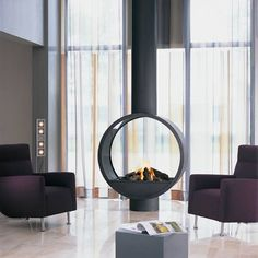 Suspended fireplace as a center of attraction