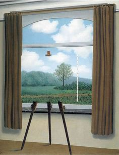René Magritte, The Human Condition (1933). Image: WikiArt. Confusion of interior and exterior shows that although we see the world as being outside ourselves...it is only a mental representation of it that we experience inside ourselves.