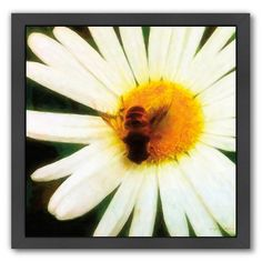 """Americanflat """"Bee Happy"""" Framed Wall Art, Multicolor"""