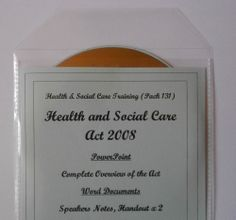 HEALTH and SOCIAL CARE ACT 2008 Awareness TEACHING RESOURCE on CD QCF Level 2 -  complete overview of the Health and Social Care Act 2008 (with speakers notes). PowerPoint presentation (62 slides including opening slide, aims and objectives and citations/references) (50 slides of actual training delivery content) and 3 Word documents.