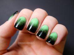 "Chalkboard Nails: Festive Green Gradient - ""Frankenstein!"""