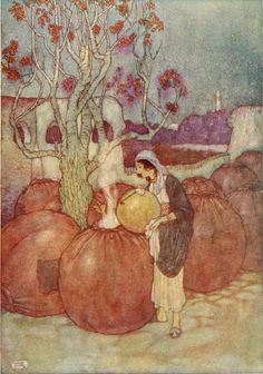 'She poured into each jar in turn a sufficient quantity of the boiling oil to scald it's occupant to death.' Illustration by Edmund Dulac from 'Stories from the Arabian Nights' -  Retold by Laurence Housman. Published by George H. Doran Company (1907).archive.org