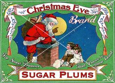 chocolaterabbit labels | Vintage Christmas Tag Printable Label Sugar Plums Digital Collage ...