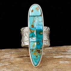 A+ MONTY CLAW Old Blue Gem Turquoise Ring TUFA CAST 7.5 Sterling ...