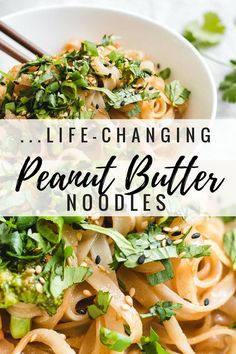 These life-changing peanut butter noodles will change your life for the better! They're creamy delicious and so easy to make.you'll wonder how you lived without them! Veggie Recipes, Asian Recipes, Vegetarian Recipes, Cooking Recipes, Healthy Recipes, Bok Choy Recipes, Gf Recipes, Healthy Dishes, Healthy Meals