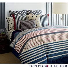 Tommy Hilfiger Reading Room Stripe 3-piece Cotton Duvet Cover Set | Overstock.com Shopping - Great Deals on Tommy Hilfiger Duvet Covers