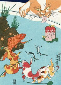 "Utagawa Kuniyoshi ~ Kingyozukushi Series「金魚づくし 百ものがたり」""Kingyozukushi Hyakumonogatari """