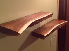 Floating shelveswalnut slab natural edge by Blackdogwoodworks, $99.00