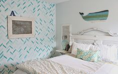 DIY Shabby Beach Bedroom Makeover & Redo - Colorful Painted Pattern in Girls Room with Modern Herringbone Shuffle Wall Stencils from Royal Design Studio via theraggedwren