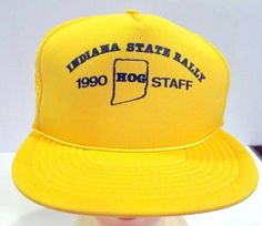 60bd6c3d03a Vintage Hog Staff Cap Hat Indiana State Rally Yellow Snapback 1990  SanSun   mensaccessorieshats Indiana