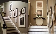 Pretty beige walls with black and white frames
