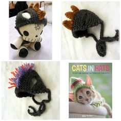 I made some Cat Hats from the new Cats in Hats book! I modified the Mohawk fauxhawk pattern slightly to add more color and more hawk!