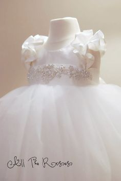 Dupioni silk dress with crystal sash and double ruffle sleeve -- gorgeous christening gown, flower girl. $315.00, via Etsy.