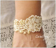 Beaded Cuff Vintage Lace Hand Embroidered Beadwork Pearls Bracelet, Wedding Cuff, SNIR via Etsy Lace Jewelry, Jewelry Crafts, Wedding Jewelry, Handmade Jewelry, Wedding Bracelet, Wedding Gold, Lace Bracelet, Bracelets, Pearl Bracelet