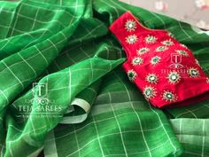 Clothes and manners do not make the man; but when he is made, they greatly improve his appearance. For orders/queries What's app… Desiner Sarees, Teja Sarees, Checks Saree, Blouse Models, Green Saree, Saree Dress, Work Blouse, Indian Designer Wear, Saree Blouse Designs