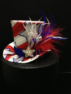 Red, White and Blue Mini Top Hat for 4th of July, Birthday, Tea Party or Photo Prop