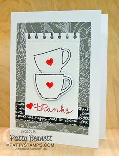 July 2015 Thanks a Latte coffee cup Paper Pumpkin card kit paired with the Stampin Up! Cottage Greetings stamp set! Cute Thanks Card!