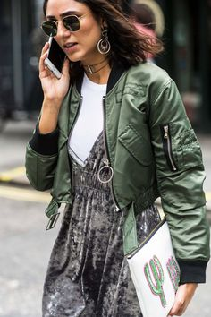 Cropped bomber jacket