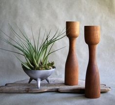 Vintage Mid Century Teak Candlesticks, Danish Modern, Wooden Taper Candle Holders, Modern Decor, Scandinavian Home Accent