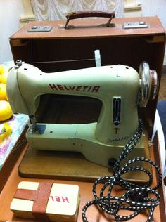 "1950's Helvetia ""Free Arm"" Portable Sewing Machine"