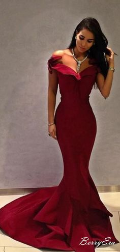 Burgundy Mermaid Off The Shoulder Beauty Long Prom Dresses 15b7f28a1257