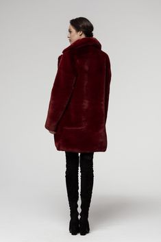 This coat is super warm and plushy to touch .  Soon to buy on Ebay Teddy Coat, Fake Fur, Fur Coat, Burgundy, Touch, Warm, Winter, Jackets, Stuff To Buy
