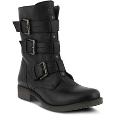 Azura Women's Gabi Black Motorcycle Boots ($130) ❤ liked on Polyvore featuring shoes, boots, black, leather engineer boots, leather boots, leather biker boots, biker boots and leather motorcycle boots