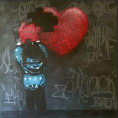 The Missing Piece. #canvas #iheart #iheartstencils #streetart #graffiti #vancouver #vancity