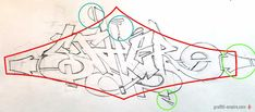 Step 4: How to draw Graffiti - improve the sketch
