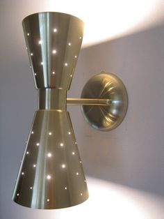 Mid Century Modern Hourglass Wall Light PERFORATED DOUBLE CONE SCONCE