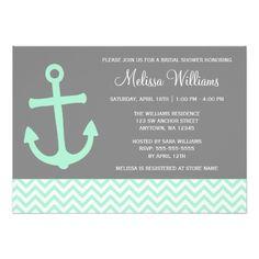 Nautical Anchor Chevron Mint Gray Bridal Shower