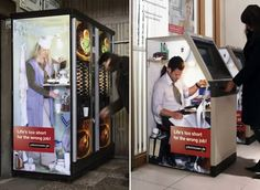 This is an ad for a job recruiting company in Berlin, Germany. Depicting people working in the vending machines, ATMs, it delivers the message that 'Life is too short for the wrong job'.