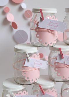 Souvenirs con frascos de yogurt Bautismos: Papeles Pequeños