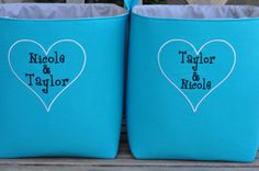 Pair of Extra Large Embroidered/Personalized Storage & Organization Fabric Basket -Container Bin- Fabric Bin Basket ur choice embroidery by SewCuteThreads on Etsy