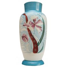 SECESYJNY RĘCZNIE MALOWANY EMALIĄ WAZON W KWIATY Vase, Home Decor, Decoration Home, Room Decor, Vases, Home Interior Design, Home Decoration, Interior Design, Jars