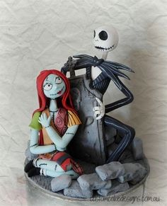Nightmare Before Christmas Fondant Figurines - Cake by Custom Cake Designs - CakesDecor