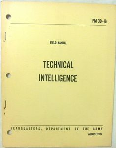 Military Book - Technical Intelligence - July 1972 - Paperback