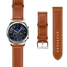 Gear S3 Classic Watch Band, Gear S3 Frontier Watch Band, J&D [Classic Series] Genuine Leather Replacement Watch Band for Samsung Gear S3 Smartwatch - Brown