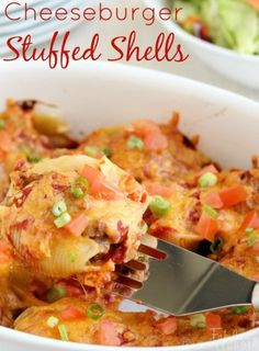 Dinner Idea! These stuffed shells are family-friendly, easy, and delicious! They really do taste like a good cheeseburger!