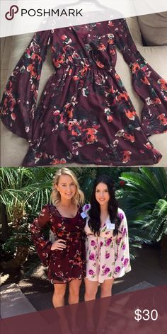 Maroon Floral Chiffon Dress Long bell sleeves.  I originally bought this dress because it was a unique find at A&F - gave me a 70's hippy vibe which I loved. Worn only once. V neck with lining. Sheer on sleeved with lining elsewhere. Abercrombie & Fitch Dresses Mini