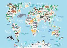 Boy knit cotton fabricbaby knit fabricpanda fabricboy jersey animal world map printworld map posterworld map paintingkids world map gumiabroncs Images