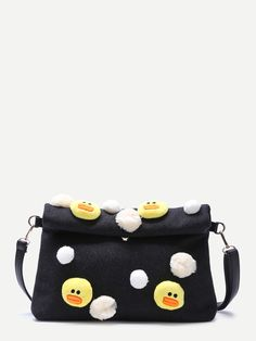 Black Embellished Roll Top Woolen Shoulder Bag With Little Chicken Detail — € color: Black size: None Cute Dresses, Diaper Bag, Coin Purse, Shoulder Bag, Seasons, Wallet, Chicken, Detail, Womens Fashion