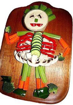 Skeleton veggie plater | Community Post: 26 Healthy Halloween Snack Hacks