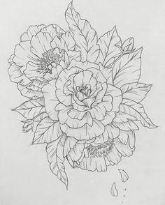 Roses and peonies :) Latest tattoo design! Roses and peonies 🙂 Latest tattoo design! Roses and peonies :] - 1 Tattoo, Tattoo Outline, Tattoo Drawings, Cool Drawings, Tattoo Flash, Key Tattoos, Skull Tattoos, Foot Tattoos, Black Tattoos