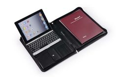 The next level of organization: a leather iPad keyboard portfolio. Ditch the laptop and make the most of your tablet with an iPad folio with integrated Bluetooth keyboard.   iPad Folio Keyboard Case with Portrait or Landscape Viewing   iCarryalls Leather Fashion